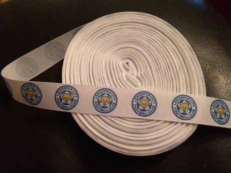 1 METRE OF LEICESTER CITY FOOTBALL CLUB RIBBON SIZE 7/8s HEADBANDS BOWS CARD MAKING